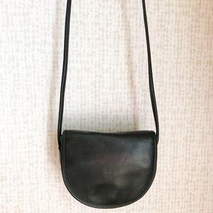Vintage Leather Crossbody Bag Black